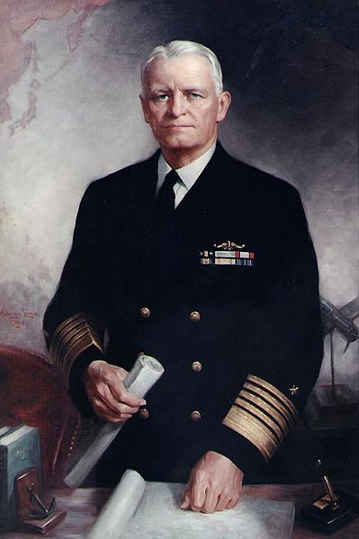 Painted portrait of Chester W. Nimitz