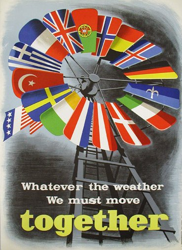 One of a number of posters created by the Economic Cooperation Administration, an agency of the U.S. government, to sell the Marshall Plan in Europe. Includes versions of the flags of those Western European countries that received aid under the Marshall Plan (clockwise from top: Portugal, Norway, Belgium, Iceland, West Germany, the Free Territory of Trieste (erroneously with a blue background instead of red), Italy, Denmark, Austria, the Netherlands, Ireland, Sweden, Turkey, Greece, France and the United Kingdom). Poster does not explicitly depict Luxembourg (whose flag is very similar to the Dutch flag), which did receive some aid.