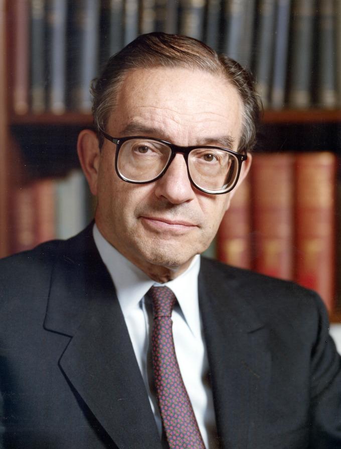 Color photo portrait of Alan Greenspan