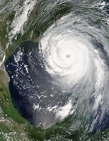 A satellite image of the eye of the hurricane over the Gulf of Mexico.