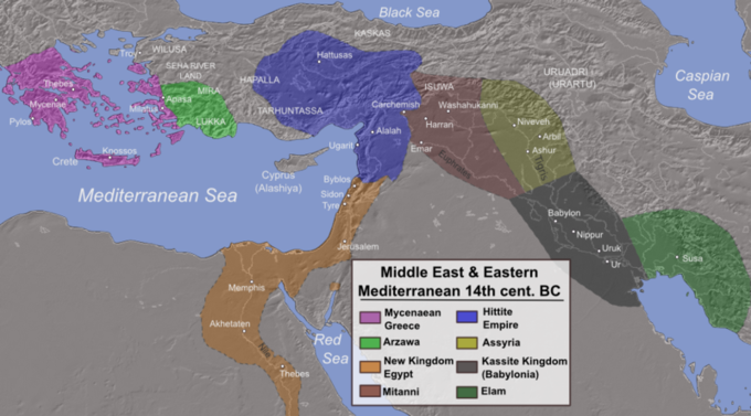 The map shows eight different powers and the area they occupied. From west to east, Mycenaean Greece covered modern-day Greece and the west coast of modern-day Turkey; Arzawa covered portions of modern-day Turkey; the New Kingdom of Egypt covered modern-day Egypt, as well as portions of modern-day Sudan, Palestine, Israel, Syria, Jordan, and Lebanon; the Hittite Empire covered portions of modern-day Turkey, Syria, and Lebanon; Mitanni covered portions of modern-day Syria, Turkey, and Iraq; Assyria covered portions of modern-day Syria, Iraq, and Turkey; Kassite Kingdom covered portions of modern-day Iran and Iraq; and Elam covered portions of modern-day Iran.