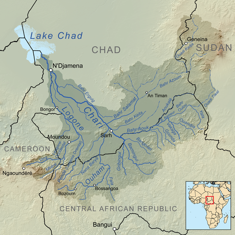The map shows Lake Chad, which is is situated in the far west of Chad, bordering on northeastern Nigeria. To It also shows the Chari River, which flows from the Central African Republic through Chad into Lake Chad, along with the Chari River's principal tributary, the Longone River.