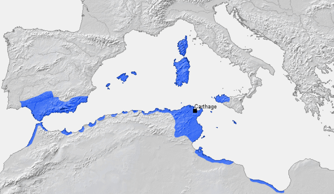The map shows Carthage, located on the northern coast of modern-day Tunisia. IT also shows the Carthaginian Empire, which extended over much of the coast of North Africa as well as encompassing substantial parts of coastal Iberia and the islands of the western Mediterranean Sea.