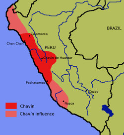 The map shows the extent of the Chavín Civilization, which stretched along the Peruvian coast, from Cajamarca to the north to Pachacamac, an archaelogical site 40 km southeast of Lima, to the south. The map also shows the extent of Chavín influence, which stretched further north along the coast to the modern-day border of Peru and Ecuador and further south along the coast to Nazca.