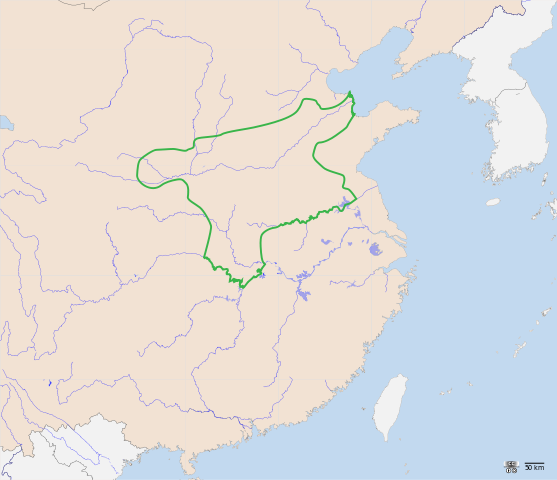 The map shows that the Shang dynasty covered a portion of modern-day mid-eastern China.
