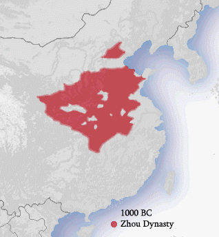 The map shows that the Zhou Dynasty covered portions of modern-day mid-eastern China.
