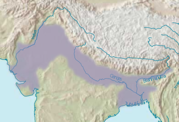 The map shows the location of the Indus, Ganges, and Brahmaputra rivers.