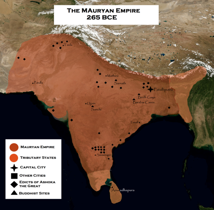 The map shows the empire covering all of modern-day India, as well as portions of modern-day Afghanistan, Bangladesh, Bhutan, India, Iran, Nepal, Pakistan, and China.