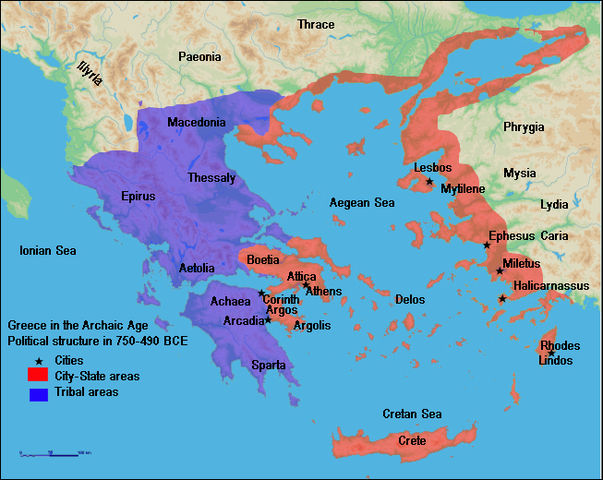 The map shows the political structure of Greece in the Archaic Age from 750 - 490 BCE. Boetia, Attica, Argolis, Delos, Crete, Lindos, and Mytilene were city-state areas. Spara, Archaea, Aetolia, Epirus, Thessaly, and Macedonia, on the other hand, were tribal areas.