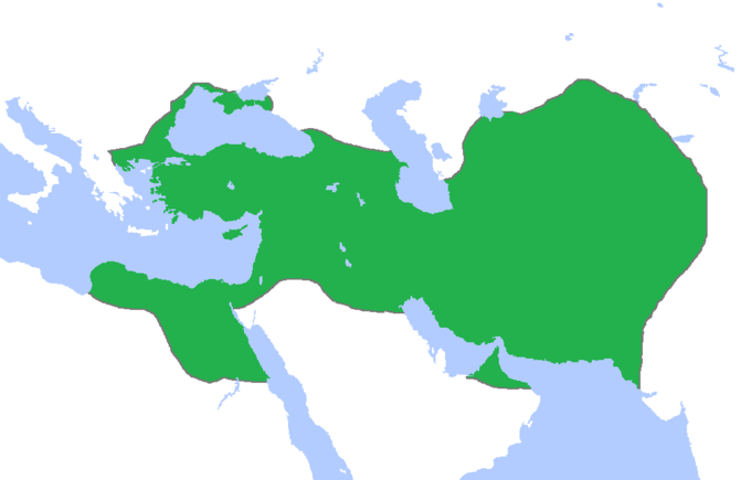 At its greatest extent, the Achaemenid Empire included all of the territory of modern-day Iran, Turkey, Iraq, Kuwait, Syria, Jordan, Israel, Palestine, Lebanon, Afghanistan, all significant population centers of Ancient Egypt as far west as eastern Libya, Thrace-Macedonia and Paeonia, the Black Sea coastal regions of Bulgaria, Romania, Ukraine, and Russia, all of Armenia, Georgia (incl. Abkhazia), Azerbaijan, parts of the North Caucasus, and much of Central Asia; encompassing around 5.5 million square kilometers, making it one of the largest empires in history. With some population estimates of 50 million in 480 BCE, the Achaemenid Empire at its peak was one of the empires with the highest share of the global population.