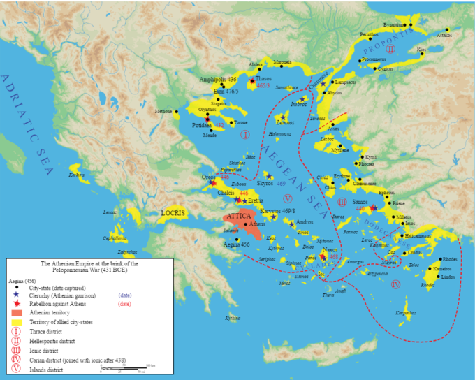 The map shows the status of the Athenian Empire at the brink of the Peloponnesian War in 431 BCE. It shows the Athenian territory, centered around Athens, and the territory of allied city states, which were spread across the Adriatic and the Aegean Seas. The territories were divided into five districts: the Thrace District to the north, which included the cities of Potidae (captured in 432), Eion (captured in 475), Amphipolis (captured in 436), and Thasos (captured in 463); The Hellespontic District to the northeast of the Thrace District; the Ionic District south of the Hellespontic District, which included the city of Samos (conquered in 440); the Carian district south of the Ionic District, which joined with the Ionic District after 438; and the Islands District to the west of the Ionic District and south of the Trace District, which included the cities of Athens, Chalcis (captured in 446), and Naxos (captured in 468).