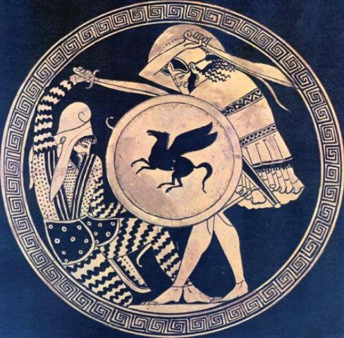The artwork shows a Greek hoplite and Persian warrior fighting each other.