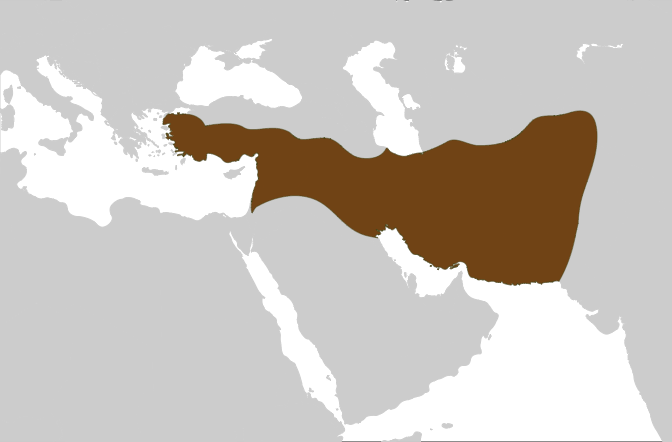 The map shows that at the height of its power, the Seleucid Empire included central Anatolia, Persia, the Levant, Mesopotamia, and what is now Kuwait, Afghanistan, and parts of Pakistan and Turkmenistan.