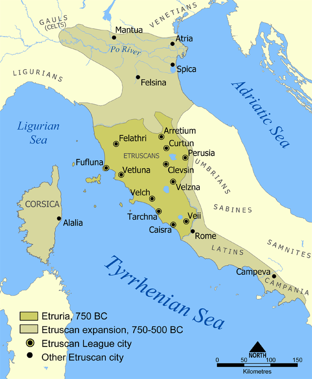 The map shows that Etruria, in 750 BC, covered an area of modern-day Italy from the Tyrrhenian Sea in the west, to Felathri in the north, to Perusia in the east, and to the area just north of Rome in the south. The twelve Etruscan league citiies were Felathri, Arretium, Curtun, Perusia, Fufluna, Clevsin, Vetluna, Velzna, Velch, Tarchna, Caisra, and Veii. The map also shows the extent of the Etruscan expansion that occured between 750-500. During that time, their lands stretched from Corsica in the west, to Mantua in the north, to Spica in the east, and to Campeva in the south.