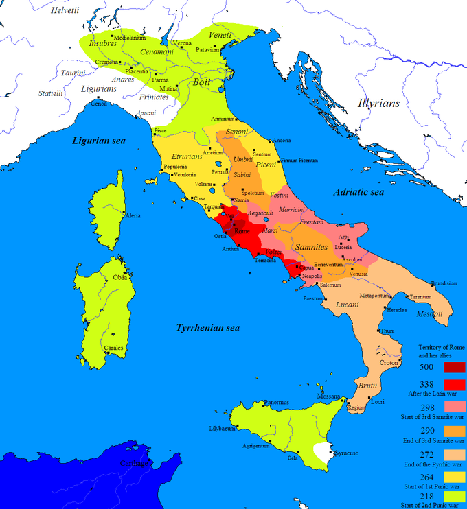 The map shows the territory of Rome and her allies between 500 BCE and 272 BCE. It shows that in 500 the territory only included the city of Rome and its immediate surroundings, including Ostia and Veii. In 338, after the Latin war, the territory expanded a bit to the north and east. It also expanded more considerably to the south, encompassing Antium, Terracina, and Capua. In 298, at the start of the 3rd Samninte war, the territory expanded south to include Napolis and also expanded east in an upside U shape to include Marsi, Aequiculi, Vestini, Marrcini, Fretani, and the cities of Arpi, Luceria, and Asculum on the east coast. In 290, at the end of the 3rd Samnite war, the territory expanded to include the central interior of present-day Italy. In 272, at the end of the Pyrrhic war, the territory expanded to include all of present-day southern Italy. In 264, at the start of the 1st Punic war, the territory expanded to include large portions of present-day northern Italy, as far north as Pisae and Ariminium. Finally, at the start of the 2nd Punic war, the territory expanded farther north, in addition to covering Corsica, Sardini, and most of Siciliy.