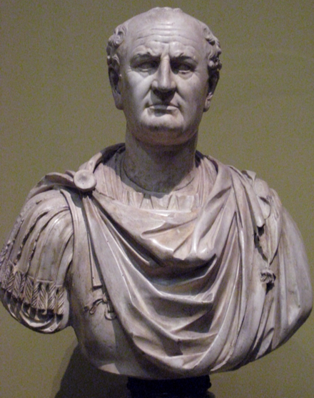 A statue bust of Vespasian.