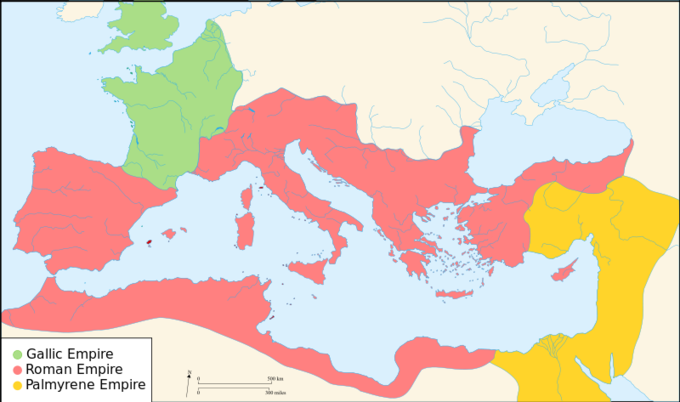 A map of the divided Roman Empire in 271 CE, showing the Gallic Empire in the North-Western Europe, Roman Empire in Italy, Middle East, and Iberia, and Palmyrine Empire in the far East.
