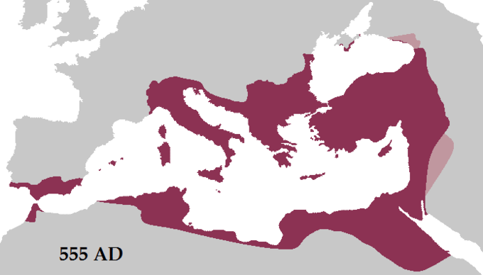 The map shows that Emperor Justinian reconquered many former territories of the Western Roman Empire, including Italy, Dalmatia, Africa, and southern Hispania.