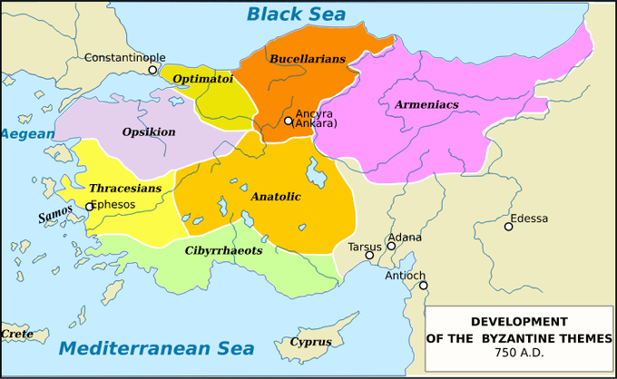 The map shows, from northwest to northeast, Opskikion, Optimatoi, Bucellarians, and Armeniacs. To the south, it shows Thracesians in the west and Anatolic in the east. South of that, is shows Cibyrrhaeots.