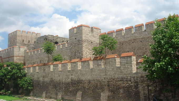 Photograph of a restored section of the Walls of Constantinople