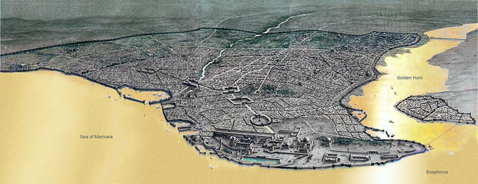 An aerial view of Byzantine Constantinople and the Propontis (Sea of Marmara)