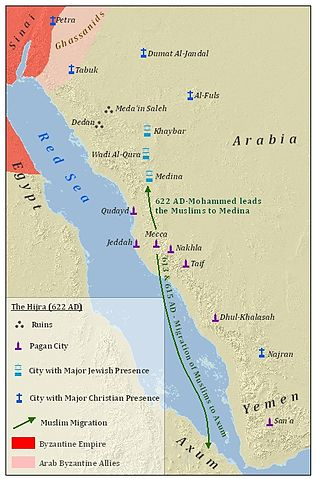 The map shows notable ruin sites, pagan cities, cities with a major Jewish presence, and cities with a major Christian presence. The ruin sites are Dedan and Medain Saleh, which are both located in modern-day northwest Saudia Arabia. The pagan cities are—from north to south along the Red Sea—Qudayd, Jeddah, Mecca, Nakhla, Taif, Dhul-Khalash, and San'a. The northernmost pagan city, Qudayd, is located in modern-day west-central Saudi Arabia. The southernmost pagan city, San'a, is located in modern-day west-central Yemen. The cities with a major Jewish presence are—from north to south—Khaybar, Wadi Al-Qura, and Medina, all of which are located in modern-day mid to northwest Saudia Arabia between the ruins and Qudayd. Four of the cities with a major Christian presence, Petra, Tabuk, Dumatul Jandal, and Jabal Tayy, are located north of the ruins. Petra, the northernmost of those cities, is located in modern-day southwest Jordan, while Jabal Tayy, the southernmost of those cities, is located northeast of the ruins. Najran, the other city with a major Christian presence, is located in modern-day southwestern Saudi Arabia near the border with Yemen. In addition to those ruins and cities, the map shows two Muslim migrations: a migration of Muslims from Mecca to Axum, located in modern-day northern Ethiopia, in 613 and 615 AD, and a migration of Muslims from Mecca to Medina in 622 AD led by Mohammed. Finally, the map shows the Byzantine Empire to the northwest and an area of land between Petra and Tabuk controlled by the Ghassanids, a group of Arab Byzantine allies.