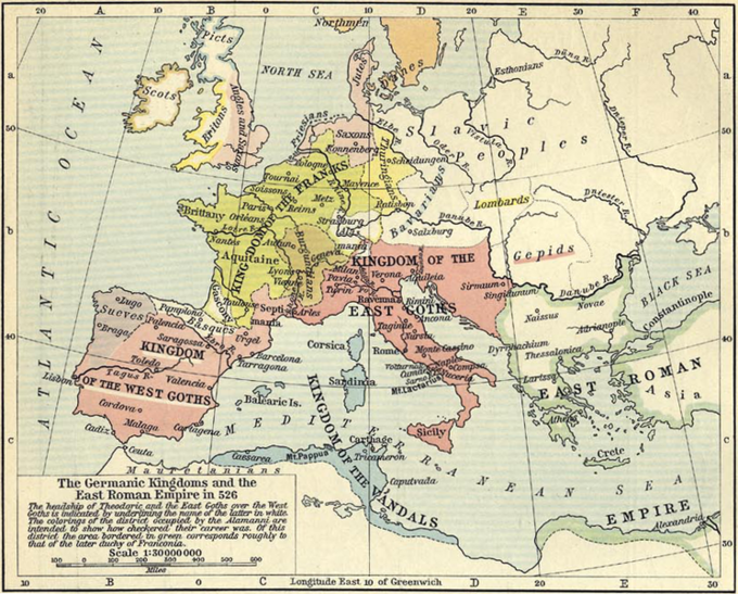 A map showing the extent of the Germanic Kingdoms and the East Roman Empire