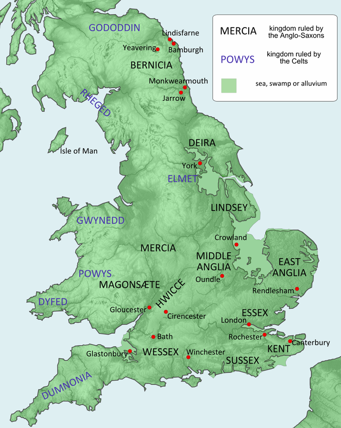 The map shows twelve kingdoms ruled by the Anglo-Saxons, stretching from northeastern England to southern England. From north to south, these kingdoms included Bernicia, Deira, Lindsey, Mercia, Middle Anglia, East Anglia, Magonsaete, HWICCE, Essex, Wessex, Kent, and Sussex. The map also shows seven kingdoms ruled by the Celts. stretching from northern England to southwestern England. From north to south, these kingdoms included Gododdin, Rheged, Gwynedd, Powys, Dyfed, and Dumnonia.