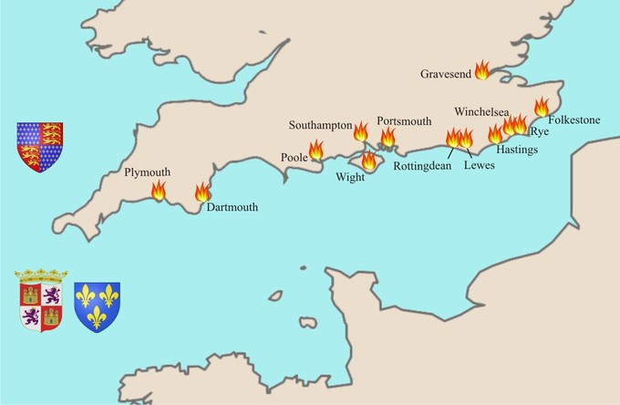 The map shows 13 along the coast of southeast England. The raids stretched from Plymouth in the west to Gravesend in the west.