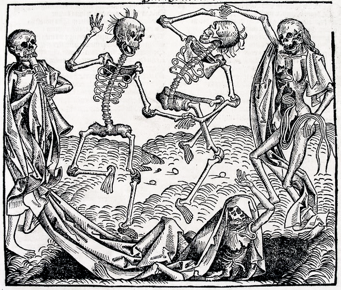 A Medieval etching depicted four skeletons dancing and playing music and one skeleton lying on the ground.