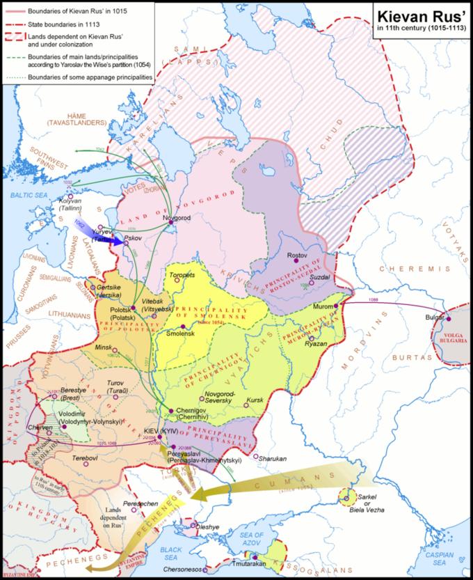 O mapa mostra que em sua maior extensão em meados do século 11, a Rússia Kievana se estendia desde o Mar Báltico, no norte, até o Mar Negro, no sul, e das nascentes do rio Vístula, no oeste, até a Península de Taman, no leste. , unindo a maioria das tribos eslavas orientais.