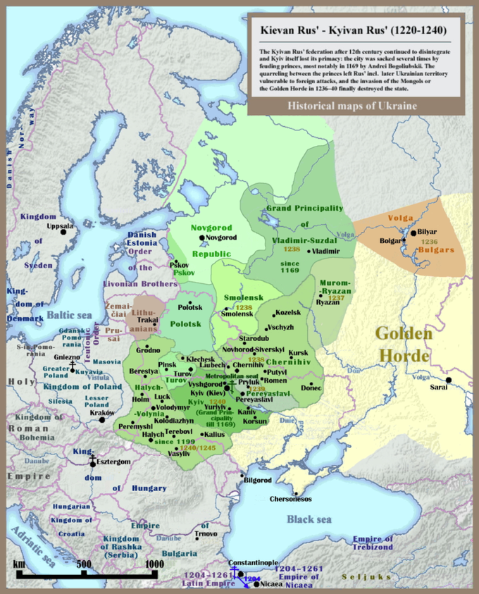 "The map's cartouche reads,: ""The Kylan Rus' federation after the 12th century continued to disintegrate and Kylv itself lost its primacy: the city was sacked several times by feuding princes, most notably in 1169 by Andrei Bogliubskii. The quarreling between the princes left Rus' including later Ukranian territory vulernable to foreign attacks, and the invasion of the Mongols or the Golden Horde in 1236-40 finally destroyed the state."""