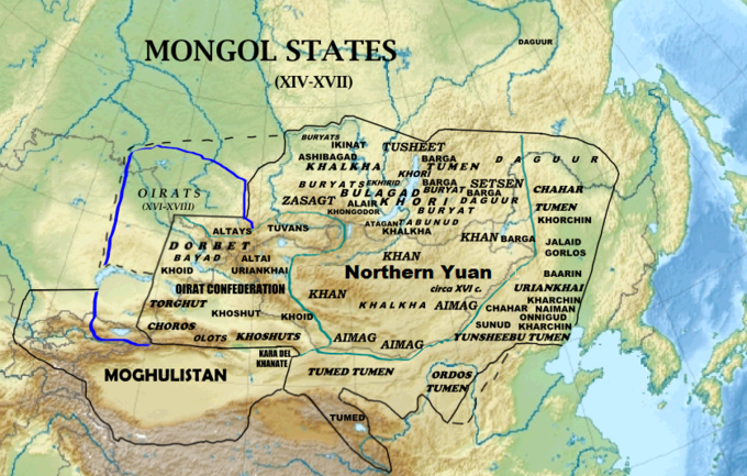 The Northern Yuan dynasty ruled an area spanning portions of modern-day Mongolia, China, Kazakhstan, and Russia.