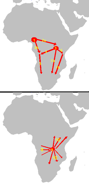 The map shows that the origin of Bantu speakers was near modern-day Cameroon sometime around 2000-1500 BC. The first migrations, which happened circa 1500 BC, moved the Bantu both to Eastern Africa and Western Africa. The Urewe nucleus of Bantu speakers was near modern-day Uganda sometime around 1000-500 BC. From there, the Bantu speakers move southward. The Congo nucleus of Bantu speakers was near modern-day Democratic Republic of the Congo sometime around 500 BC - 0. From there, the Bantu-speakers moved southward sometime around AD 0 -1000.