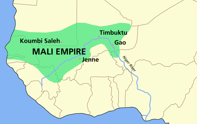The map shows that the Mali Empire covered portions of modern-day Senegal, Gambia, Mauritania, Guinea, Mali, Burkina Faso, and Niger.