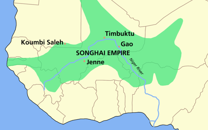 The map shows that the Songhai Empire covered portions of modern-day Gambia, Senegal, Guinea, Mauritania, Mali, Burkina Faso, Niger, Benin, and Nigeria.