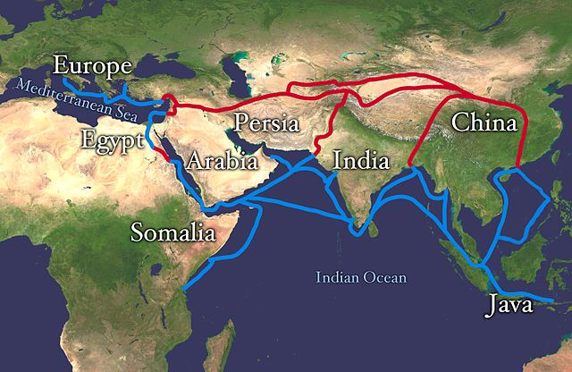 The land route covered portions of Egypt, Arabia, Persia, India, and China. The sea/water route covered the Mediterranean Sea and the Indian Ocean.