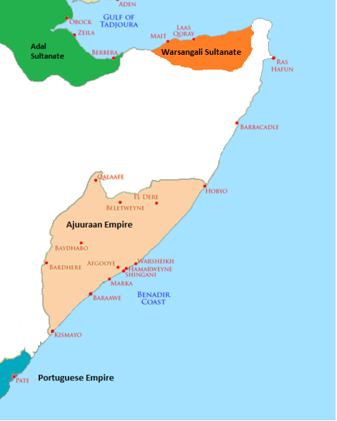 The map shows the Horn of Africa. The Adal Sultanate was located on the Gulf of Tadjoura in modern-day Djibouti, the Warsangali Sultanate was located to the east in modern-day northeastern Somalia, the Ajuuraan Empire was located to the south on the Benadir Coast of modern-day Somalia, and the Portuguese Empire was located south of that near Pate, on the modern-day northeast coast of Kenya.