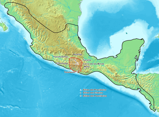 The map shows that the Mixtecs were concentrated in an area near modern-day Santiago Tilanto in the state of Oaxaca, Mexico.