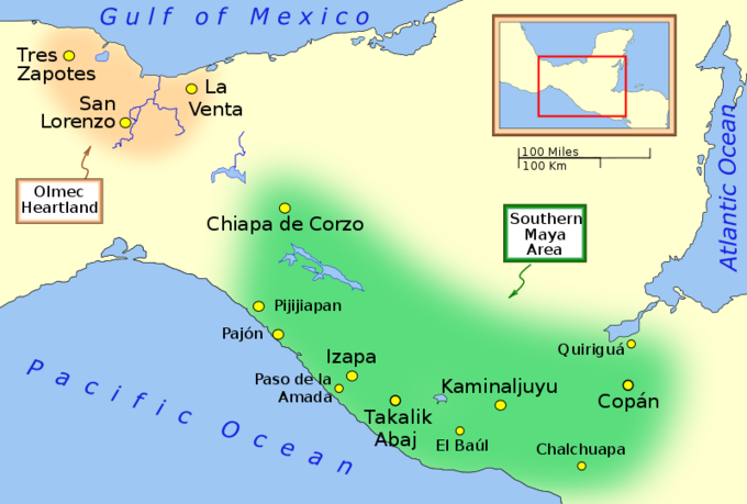 The map shows the Olmec heartland and the Southern Maya Area of the Preclassic era. The Olmec heartland was located on the southern portion of Mexico's Gulf Coast region between the Tuxtla mountains and the Olmec archaeological site of La Venta, extending roughly 80 km (50 mi) inland from the Gulf of Mexico coastline at its deepest. From west to east, it included the cities of Tres Zapotes, San Lorenzo, and La Venta. The Southern Maya Area was located within a broad arc or cantilevered rectangle from Chiapa de Corzo, in the Isthmus of Tehuantepec, in the northwest due south to Izapa and Paso de la Amada, from Chiapa de Corzo southeast to Copán, Honduras, and from Copán south to Chalchuapa, El Salvadolo. From west to east, it included the cities of Pijijiiapan, Pajón, Chiapa de Corzo, Paso de la Amada, Izapa, TAkalik Abaj, El Baúl, Kaminaljuyu, Chalchuapa, Copán, and Quiriguá.
