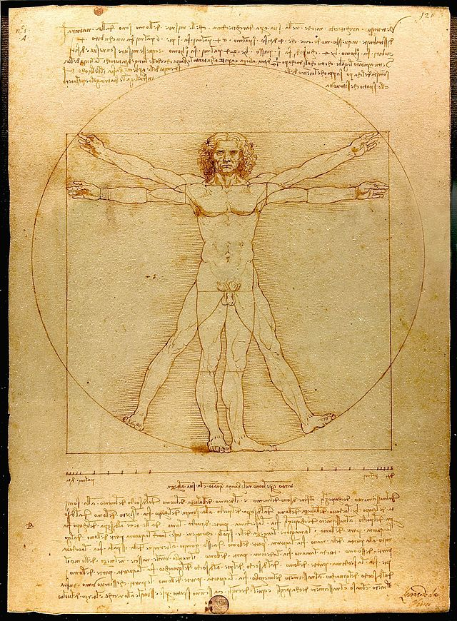 The drawing, which is in pen and ink on paper, depicts a man in two superimposed positions with his arms and legs apart and inscribed in a circle and square.