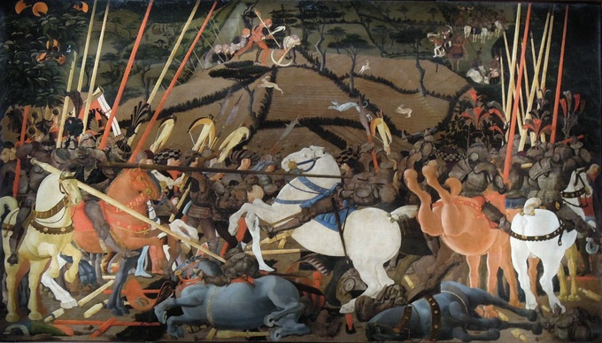 The painting depicts Niccolò Mauruzi da Tolentino unseatsing Bernardino della Ciarda at the Battle of San Romano.