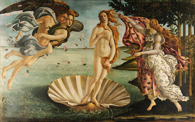 The goddess Venus is depicted as a naked woman standing on a shell. On the left are two figures blowing on her, and on the right is a woman reaching out to her.