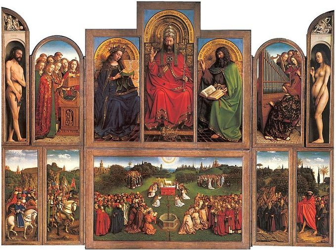 This altarpiece is divided into 12 panels in an upper and lower register with various scenes and figures, including a God-like figure, the Virgin Mary, Christ the King, and Adam and Eve.