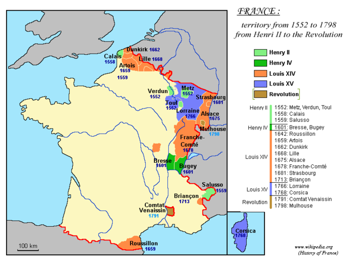 The map shows that Louis XIV made territorial gains in northern, western, and southern France. From north to south, those gains were in Artois (1659), Dunkirk (1662), Lille (1668), Strasbourg (1681), Alsace (1675), Franche-Comté (1678), Briançon (1713), and Roussillon (1659).