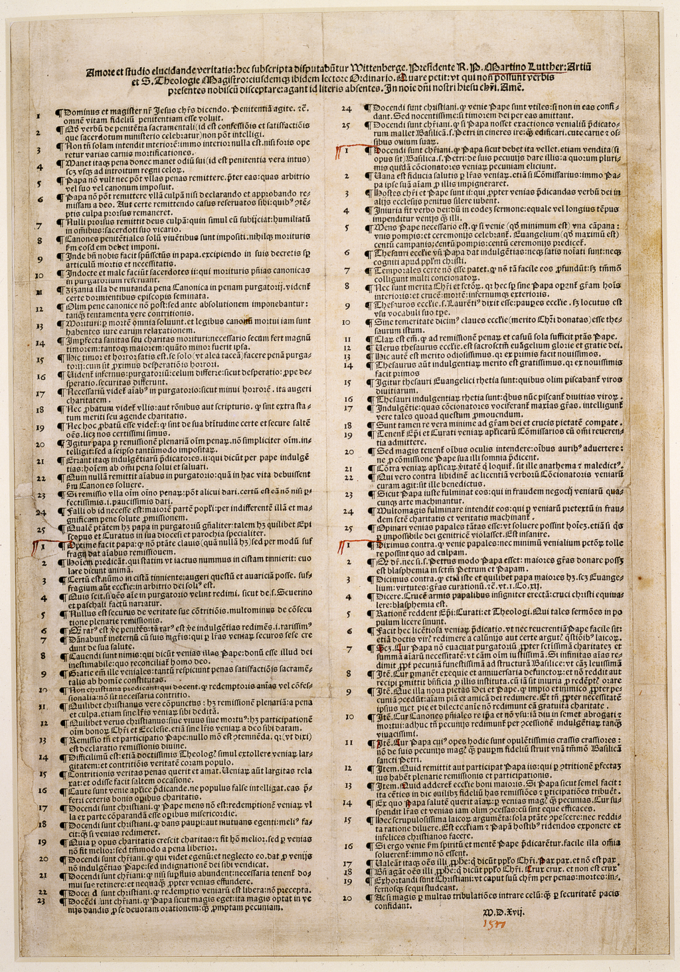 A photo of a 1517 manuscript of the Luther's Ninety-five Thesis.