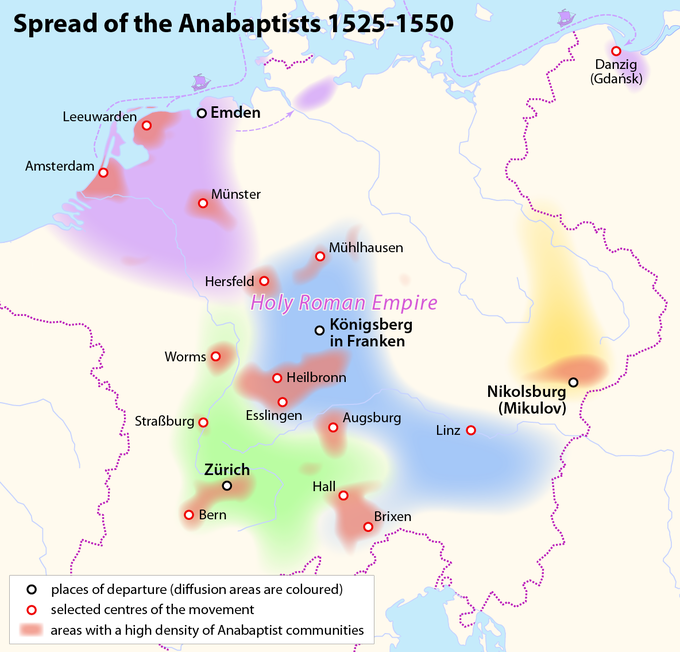 A map showing the spread of Anabaptists from 1525-1550, mostly within the Holy Roman Empire.