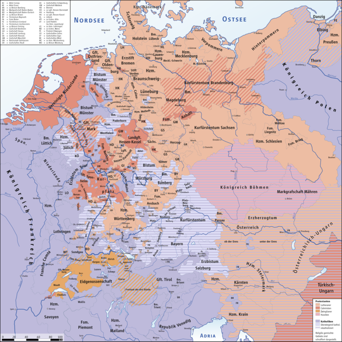 The Thirty Years War Boundless World History - Map germany thirty years war
