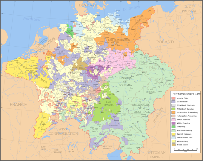 A map of the Holy Roman Empire in 1648, including all of the Imperial States.