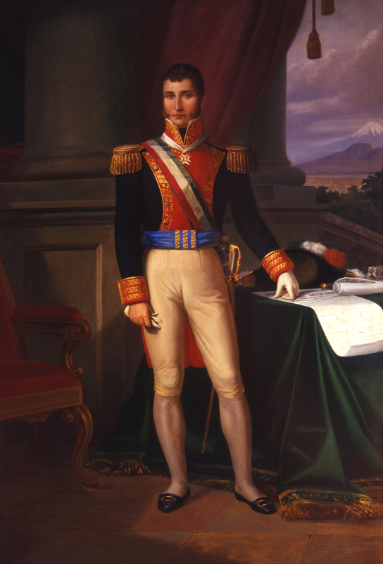 The painting depicts Agustín de Iturbide dressed in military garb.